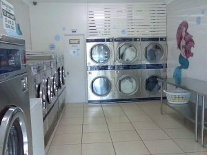 Looking into the shop at our Dexter front loading washing machines and dryers.